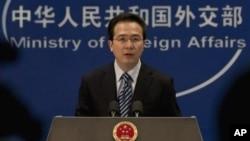 Jubir Deplu Tiongkok Hong Lei mengecam pernyataan pejabat AS yang menyalahkan kebijakan Beijing di Tibet (fot: dok).