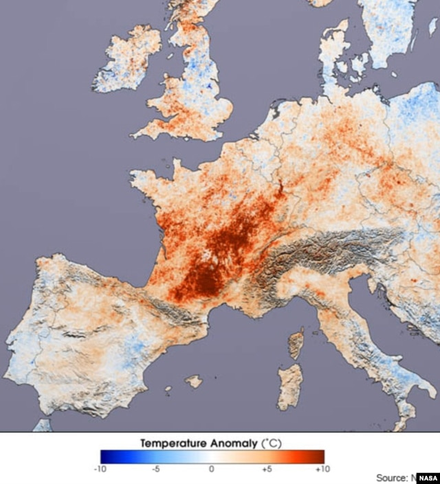 This image shows the differences in day time land surface temperatures collected in July 2001 and during the 2003 heat wave by the Moderate Resolution Imaging Spectroradiometer (MODIS) on NASA's Terra satellite. (NASA/Reto Stockli and Robert Simmon, based