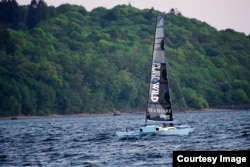 Team Pure & Wild testing their brand new proa, a type of multihull sailing vessel, on Puget Sound. (Image Credit: Team Pure & Wild)