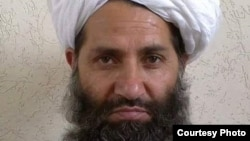 FILE - A photo circulated by the Taliban of new leader Mawlawi Haibatullah Akhundzada.