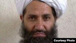 FILE - A photo circulated by the Taliban of new leader Mawlawi Haibatullah Akhundzada.