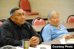 Lakota elders Tom Red Bird and Sandra Black Bear, participating in discussions at the Lakota Language Consortium's (LLC) Summer Language Institute, held at Sitting Bull College, Fort Yates, N.D., June 5, 2014. Courtesy: LLC