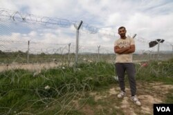 Palestinian Syrian Qusay Lubani hoped to travel to Norway. With the route now blocked, like many here he is now unsure what to do, April 22, 2016. (J. Owens/VOA)