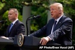 Президент США Дональд Трамп та президент Польщі Анджей Дуда провели спільну прес-конференцію 24 червня 2020 року