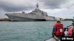 """美国海军第7舰队战斗舰""""查尔斯顿号""""。(第7舰队网站图片)"""