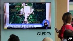 Picha za satellite zikionyesha maeneo ya vituo vya kurushia makombora nchini Korea Kaskazini iliyokuwa ikionyeshwa katika televisheni ya Korea Kusini, Julai 24, 2018.