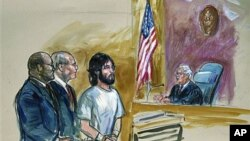 Artist's rendering shows accused White House shooter Oscar Ramiro Ortega-Hernandez (C) before Magistrate Judge Alan Kay (L), at federal court in Washington, November 21, 2011. From left are, U.S. Assistant Attorney George P. Varghese, a public defender Da