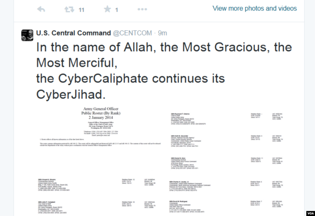 Screen shot of the U.S. Central Command Twitter account that was taken over by hackers who say they are loyal to the Islamic State group, Jan. 12, 2015.