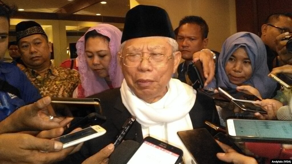 Ketua Majelis Ulama Indonesia, Ma'ruf Amin menolak wacana pemisahan agama dan politik. (Foto: VOA/Andylala)