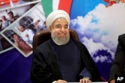 FILE - Iranian President Hassan Rouhani is shown in Tehran, Iran, April 14, 2017.