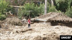 북한 함경북도 무산군 학산리에서 홍수와 산사태로 파괴된 마을에 한 아이가 서있다. 유니세프가 지난달 20일 발표한 북한 수해 실태 보도자료에 실린 사진이다.