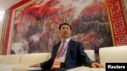 萬達集團董事長王健林在青島,準備參加青島東方影都的啟動典禮(2013年9月22日)