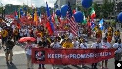 22일 국제에이즈 총회가 열린 워싱턴 행진 장면.