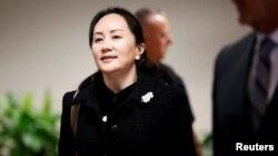 Bà Mạnh Vãn Chu, giám đốc Tài chánh của Huawei bên ngoài Toà án Tối cao tại Vancouver, British Columbia, Canada, ngày 20/1/2020..