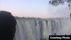 Victoria Falls and the Zambezi River, viewed from Zimbabwe.
