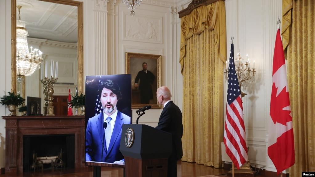 美国总统拜登与加拿大总理特鲁多2021年2月23日通过视频举行双边会谈(路透社)