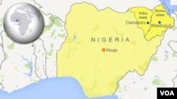 Peta wilayah Nigeria dan Maiduguri.