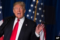 Republican presidential candidate Donald Trump gives a foreign policy speech at the Mayflower Hotel in Washington, April 27, 2016.