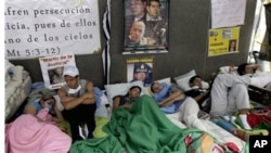 Students during a hunger strike in Caracas, Venezuela, February 15, 2011