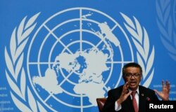Director-General of the World Health Organization (WHO) Tedros Adhanom Ghebreyesus attends a news conference at the United Nations in Geneva, Switzerland, Feb. 7, 2018.