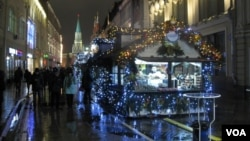 莫斯科紅場附近的聖誕集市 (美國之音白樺 拍攝)