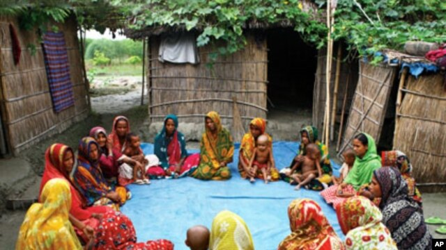 Women in a flood-prone community in Gaibandha, Bangladesh, gather once a week to share ideas about how to adapt to worsening climate and rising seas
