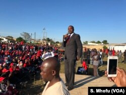 Nelson Chamisa, who is leading the coalition of most opposition parties in Zimbabwe, addresses members of the Movement for Democratic Change in Masvingo, June 9, 2018, about 300 km south of Harare.