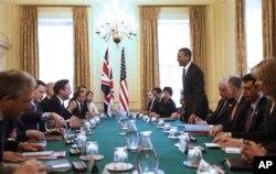Séance de travail avec le Premier ministre David Cameron au 10, Downing Street