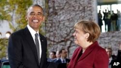 Thủ tướng Đức Angela Merkel gặp Tổng thống Mỹ Barack Obama trước thềm cuộc họp đa phương tại Berlin ngày 18/11/2016.