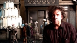 "Tim Burton on the set of ""Corpse Bride"""