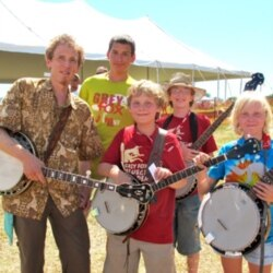 Ira Gitlin and several of his banjo students