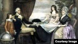 نقاشی از جورج واشنگتن، همسرش مارتا و نوه هایش توسط هنرمند ادوارد ساویج.