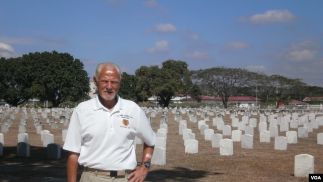 First Sgt. John Gilbert at the Clark Veterans Cemetery in the Philippines, Feb. 22, 2013. (Photo: VOA/Simone Orendain)