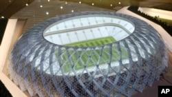 Model Stadion Al-Wakrah yang sedang dibangun menjadi salah satu tempat pertandingan turnamen sepak bola Piala Dunia 2022 nanti, 16 September 2010.