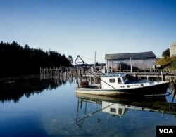A lone lobster boat at the dock in Eastport in far northern Maine. (Carol M. Highsmith)