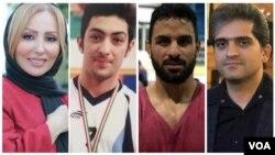 از راست: عزیز قاسمزاده، نوید افکاری، آرمان عبدالعالی، و پرستو صالحی