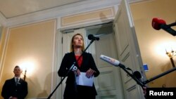 The European Union's foreign policy chief Federica Mogherini addresses to media after the meeting of the Quartet of Middle East peace mediators during the 51st Munich Security Conference at the 'Bayerischer Hof' hotel in Munich February 8, 2015. The Quart