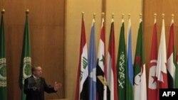 თურქეთის პრემიერი ერდოღანი არაბული ლიგის საგარეო საქმეთა მინისტრების წინაშე გამოდის სიტყვით, 13 სექტემბერი, 2011 (AP Photo/Khalil Hamra)