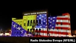 Bosnia -- Sarajevo City Hall lit up in honor of US president elected Joe Biden, November 8, 2020, Sarajevo