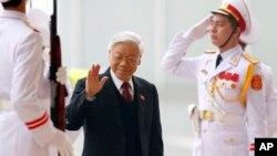 Tổng Bí thư đảng CSVN Nguyễn Phú Trọng đến dự lễ khai mạc đại hội đảng 12 tại Hà Nội, ngày 21/1/2016.