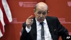 French Foreign Affairs Minister Jean-Yves Le Drian speaks at the Kennedy School of Government at Harvard University in Cambridge, Mass., Sept. 28, 2018.