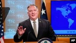 Ngoại trưởng Mike Pompeo trong cuộc họp báo ngày 2/9 ở Bộ Ngoại giao tại Washington.
