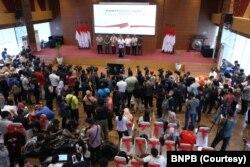 Suasana konferensi pers mengenai virus corona di kantor BNPB, Jakarta, Sabtu, 14 Maret 2020.