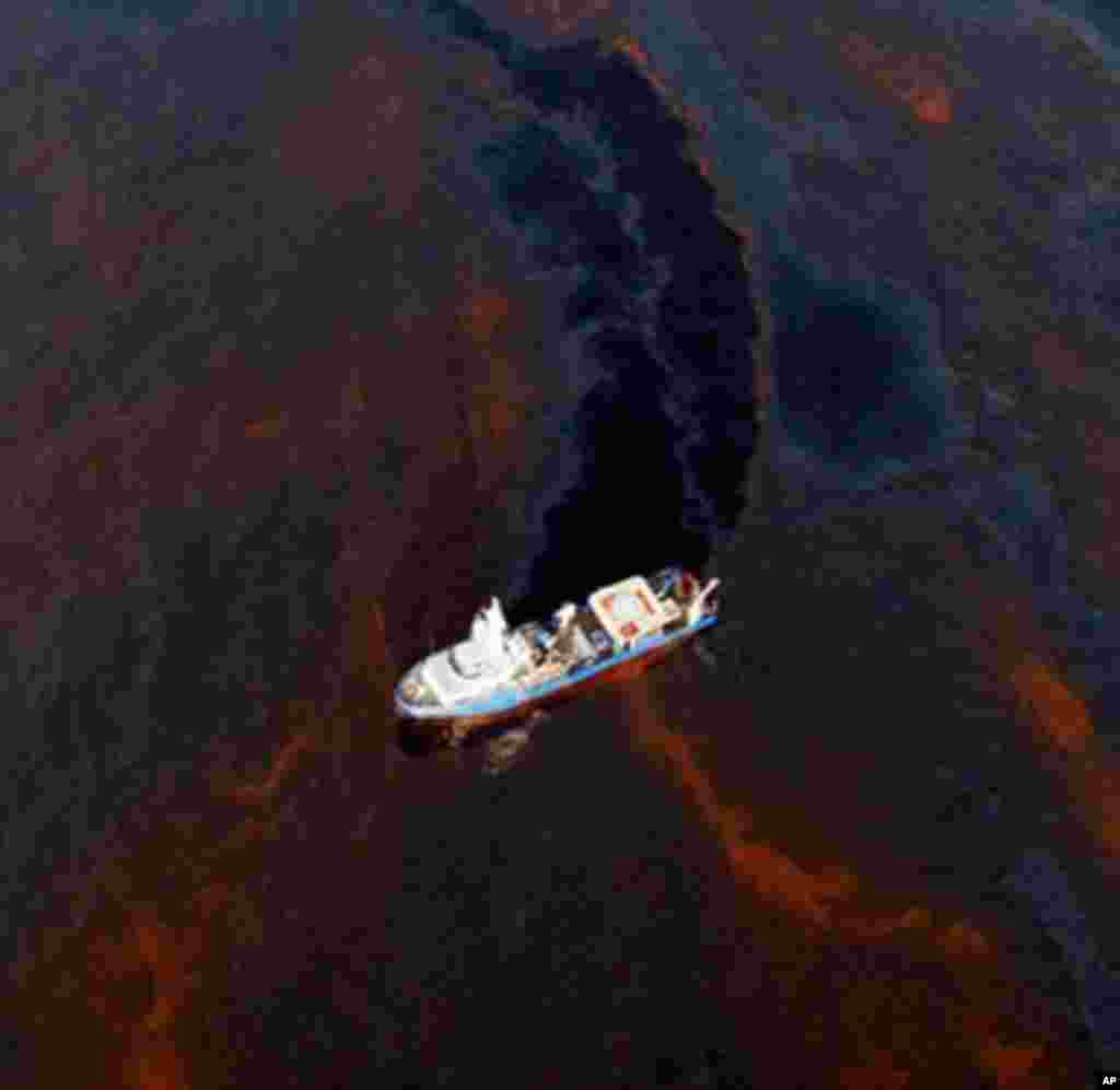 A boat makes its way through crude oil that has leaked from the Deepwater Horizon wellhead in the Gulf of Mexico near New Orleans, Louisiana, 28 Apr 2010. (AFP Image)