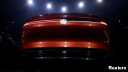 A Volkswagen I.D. concept car is displayed at a media event ahead of the Beijing Auto Show in Beijing, China, April 24, 2018.