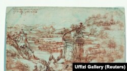 Infrared light is shone onto the 'Il Paesaggio' by Renaissance artist Leonardo da Vinci