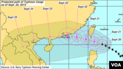 Path of Typhoon Usagi