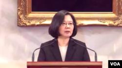台灣總統蔡英文1月2號在總統府發表談話(蔡英文臉書截圖)