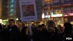 普京是勃烈日涅夫,3月5日俄罗斯总统大选投票后莫斯科的反政府示威 (美国之音白桦拍摄)