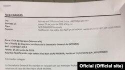 Caso Alex Saab: Nota da interpol